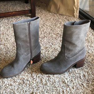 Mid-Calf Gray Suede Booties